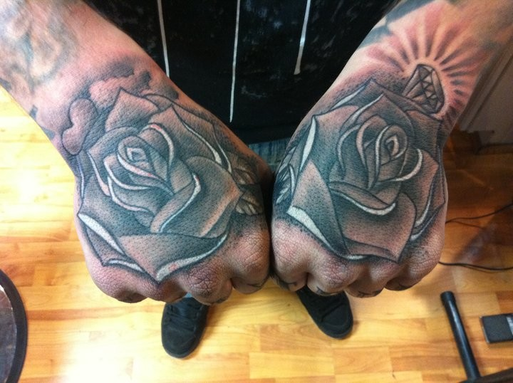 Black n Grey Ink Rose Tattoo Designs On Hand