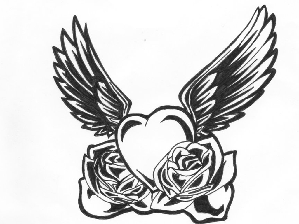 Black And White Heart Tattoo Designs Black n White Heart Wings