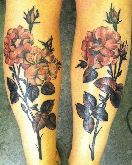 Black n Pink Flower Tattoo Design