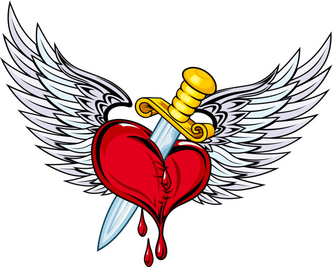Bleeding Heart Tattoo With Wings