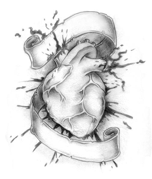 Bleeding Human Heart Tattoo Design With Banner