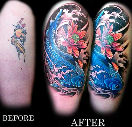 Blue Fish n Flower Tattoo Stages