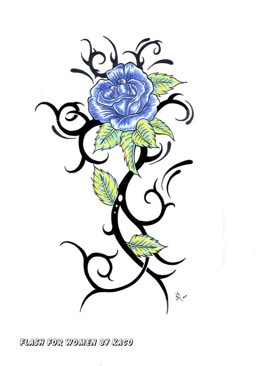 Blue Rose Flower Tattoo Stencil