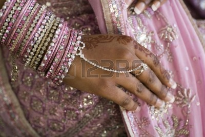 Bride's Hand With Henna Tattoo And Jewelery