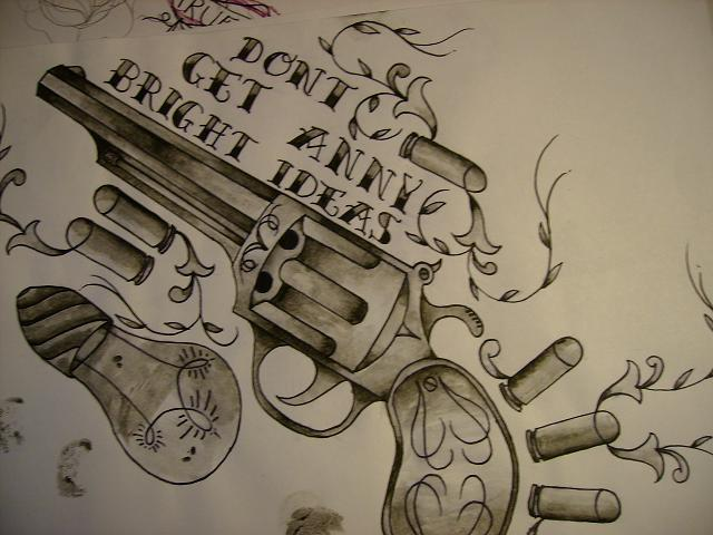 Bright Ideas Gun n Bullets Tattoo Design