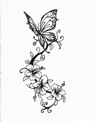 Butterfly And Hibiscus Tattoo Design