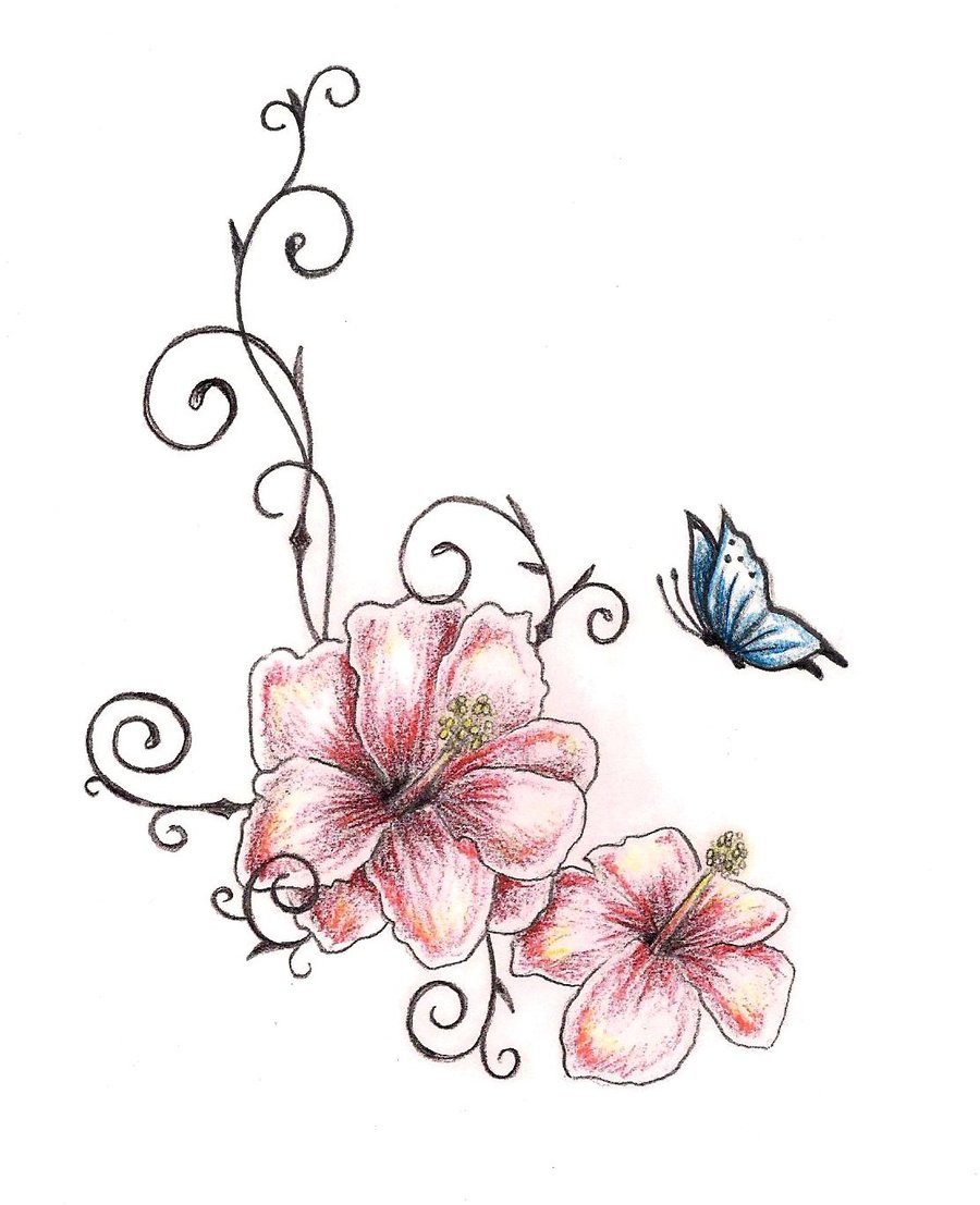 Butterfly n Hibiscus Flowers Tattoo Design