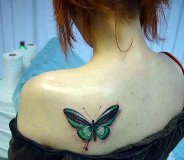 Butterfly Tattoo On Back Shoulder For Girls