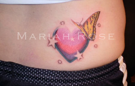 Butterfly With Heart n Stars Tattoo On Waist