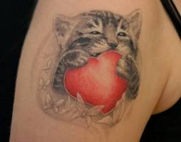 Cat With Red Heart Tattoo Design