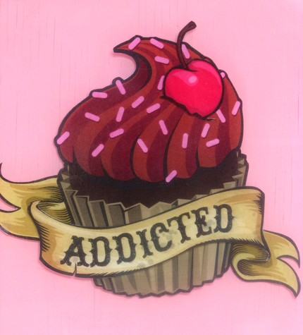 Cherry Cupcake Tattoo Design
