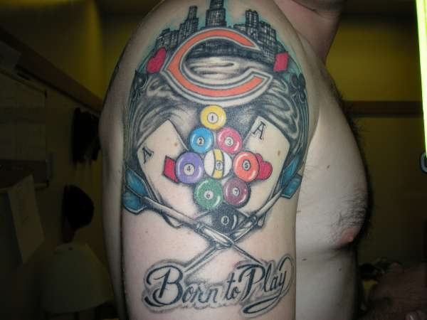 Chicago n Gambling Tattoo On Right Shoulder