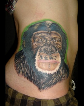 Chimpanzee Monkey Hip Tattoo Chloe Vanessa