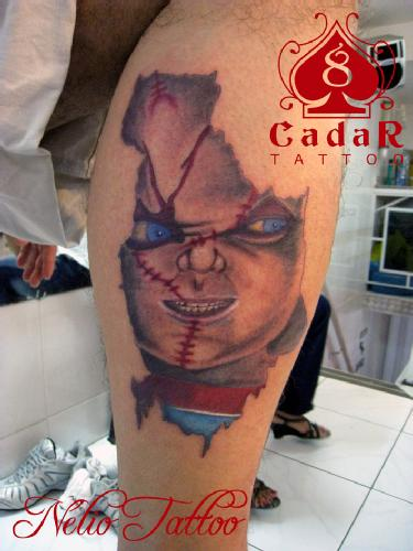 Chucky Horror Tattoo On leg