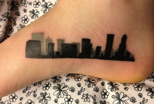 City Buildings Tattoo On Foot