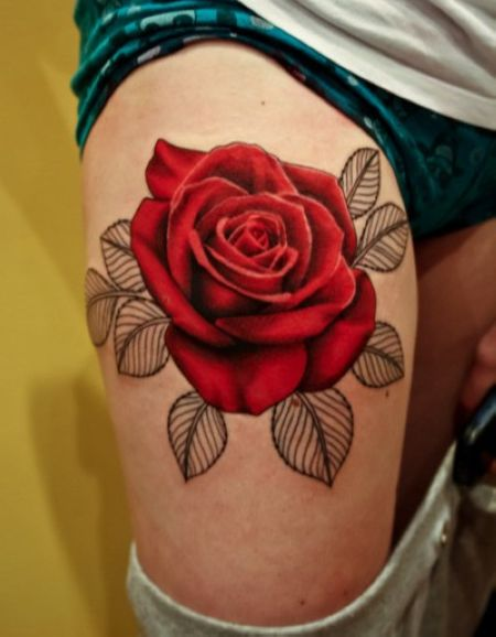 Classic Rose Flower Tattoo On Thigh