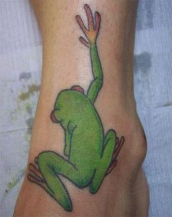 Climbing Frog Tattoo On Foot