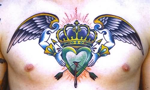Color Ink Crown Heart Tattoo On Chest