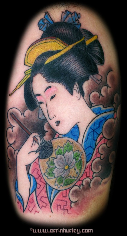 Color Ink Geisha With Fan Tattoo Design