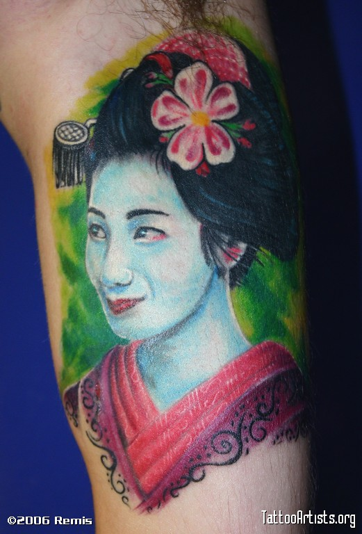Color Ink Geisha Woman Tattoo Design