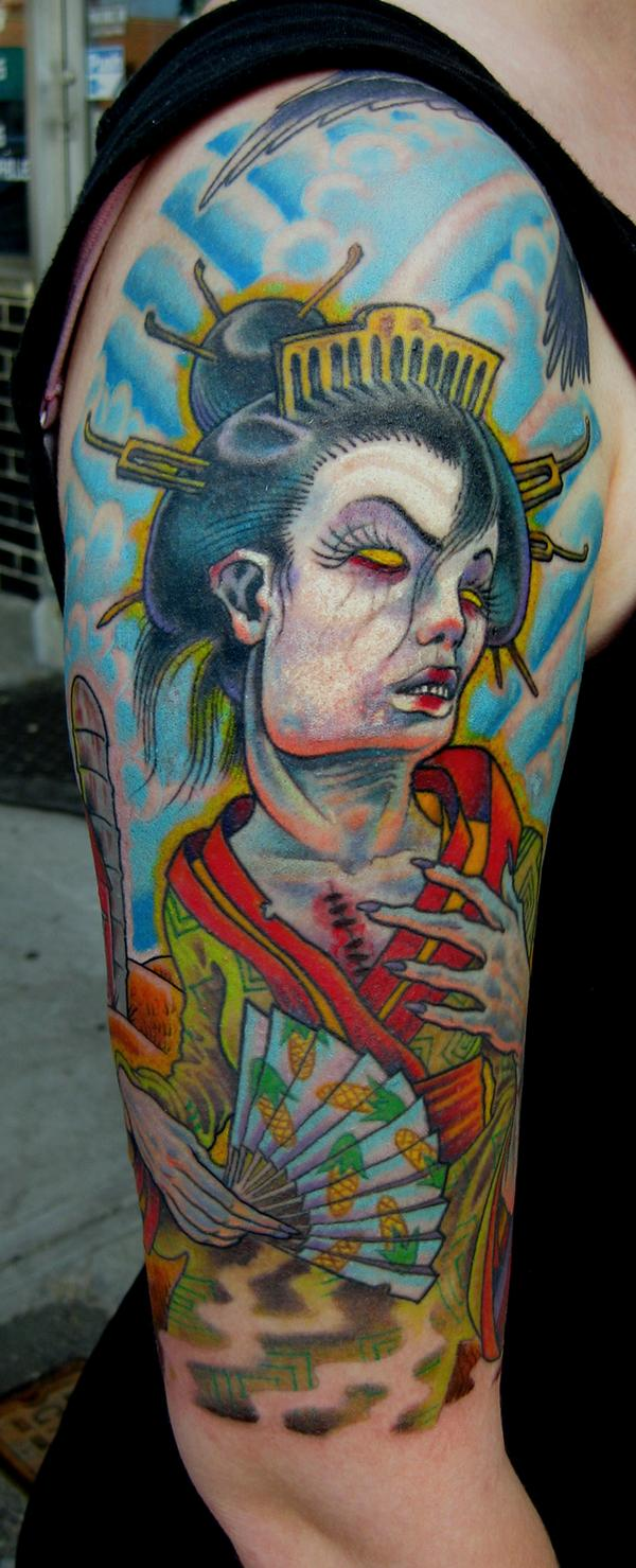 Color Ink Zombie Geisha Tattoo On Sleeve