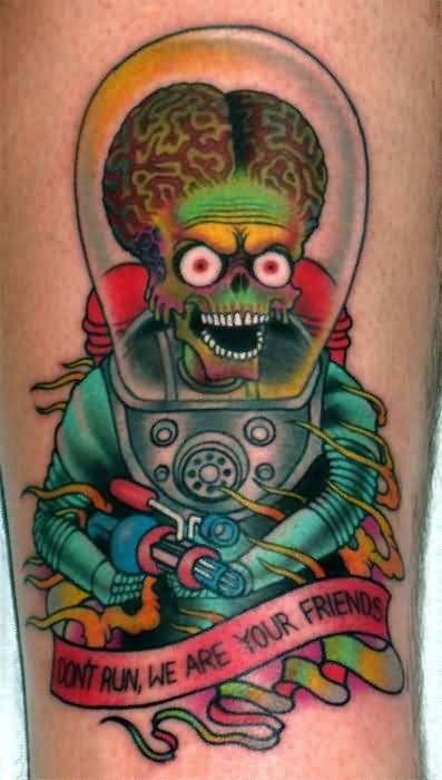 Colorful Funny Alien Tattoo Design