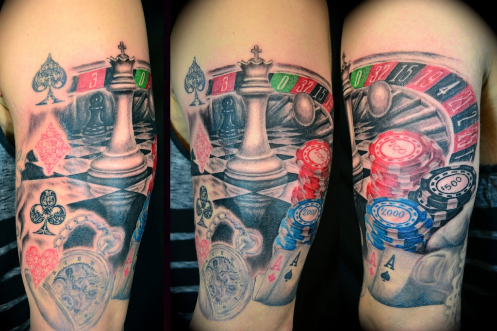Colorful Gambling Tattoo Design On Sleeve