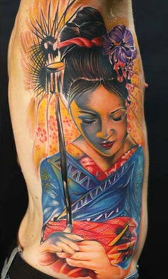 Colorful Geisha Tattoo On Rib Side
