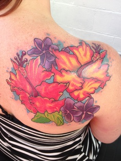 Colorful Hibiscus Flowers Tattoo On Back Shoulder