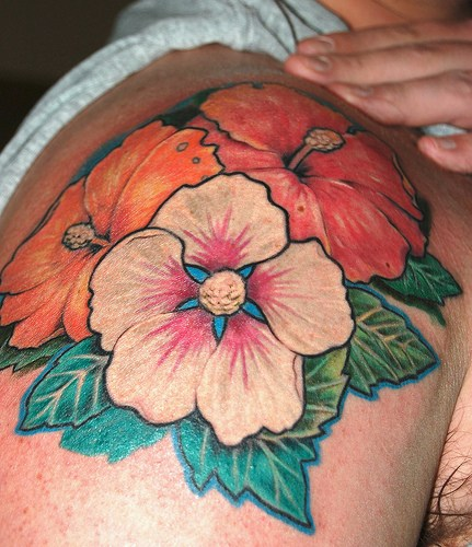 Colorful Hibiscus Flowers Tattoo On Shoulder