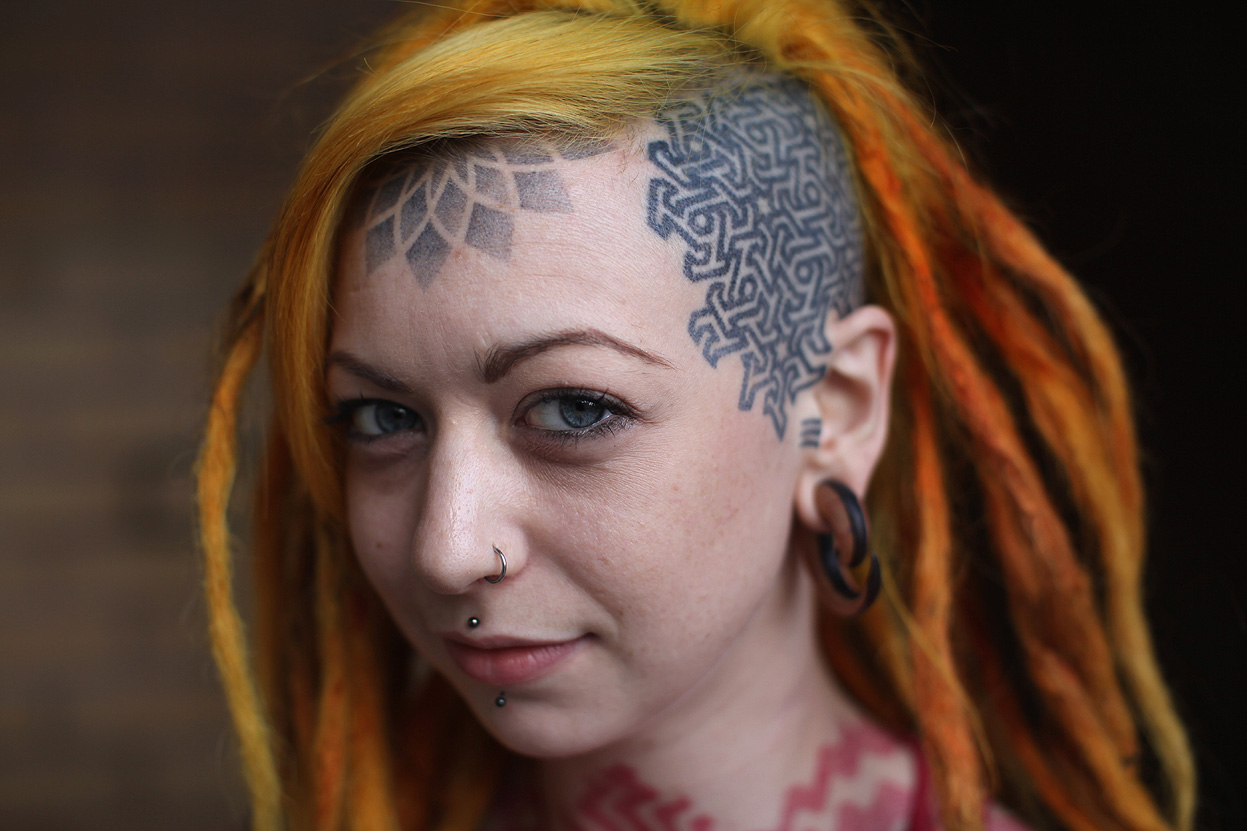 Cool Forehead Tattoo For Girls