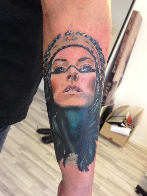 Cool Indian Girl Tattoo On Arm