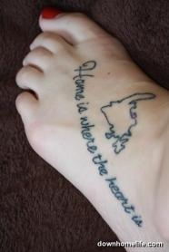 Country Map Tattoo On Foot