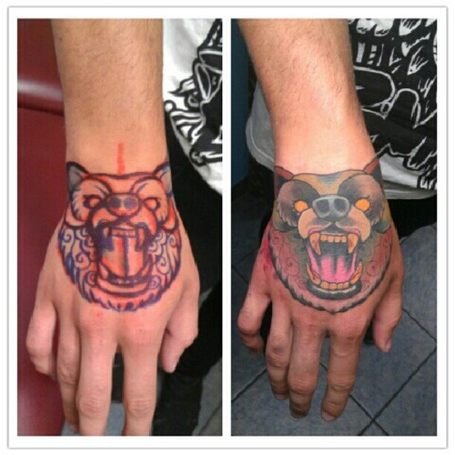 Crawling Bear Face Hand Tattoo Design