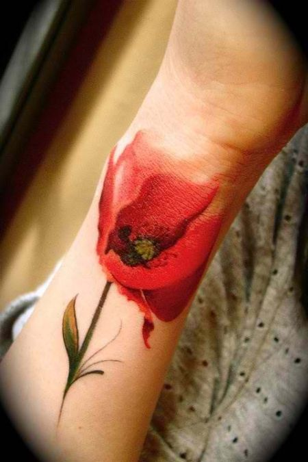 Creative Poppy Flower Tattoo