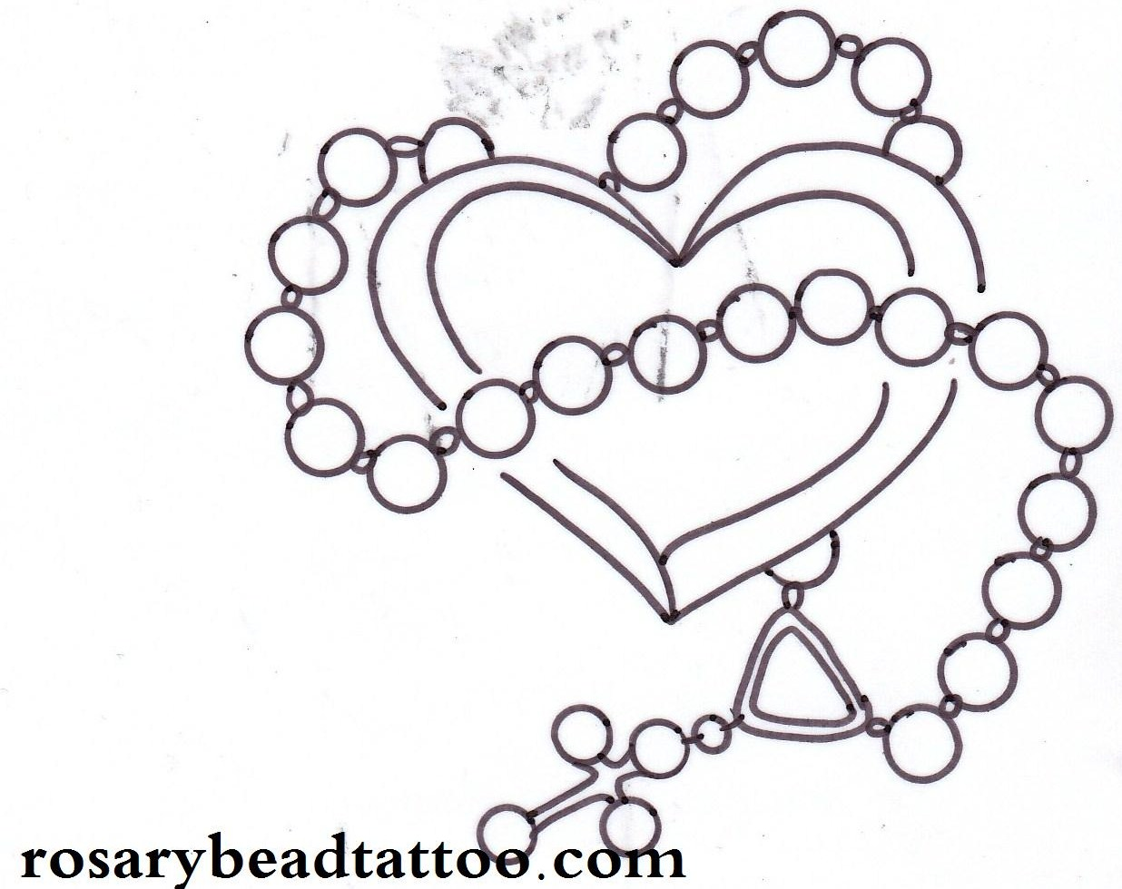 Rosary Cross Drawing With Heart Tattoo Design