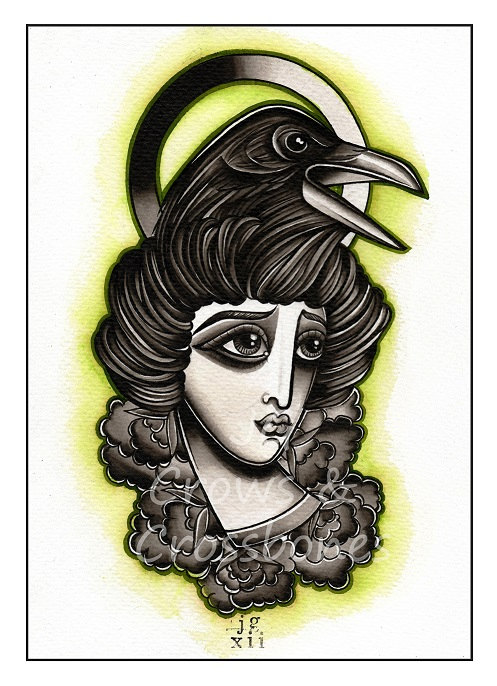 Crow Head Gypsy Tattoo Design