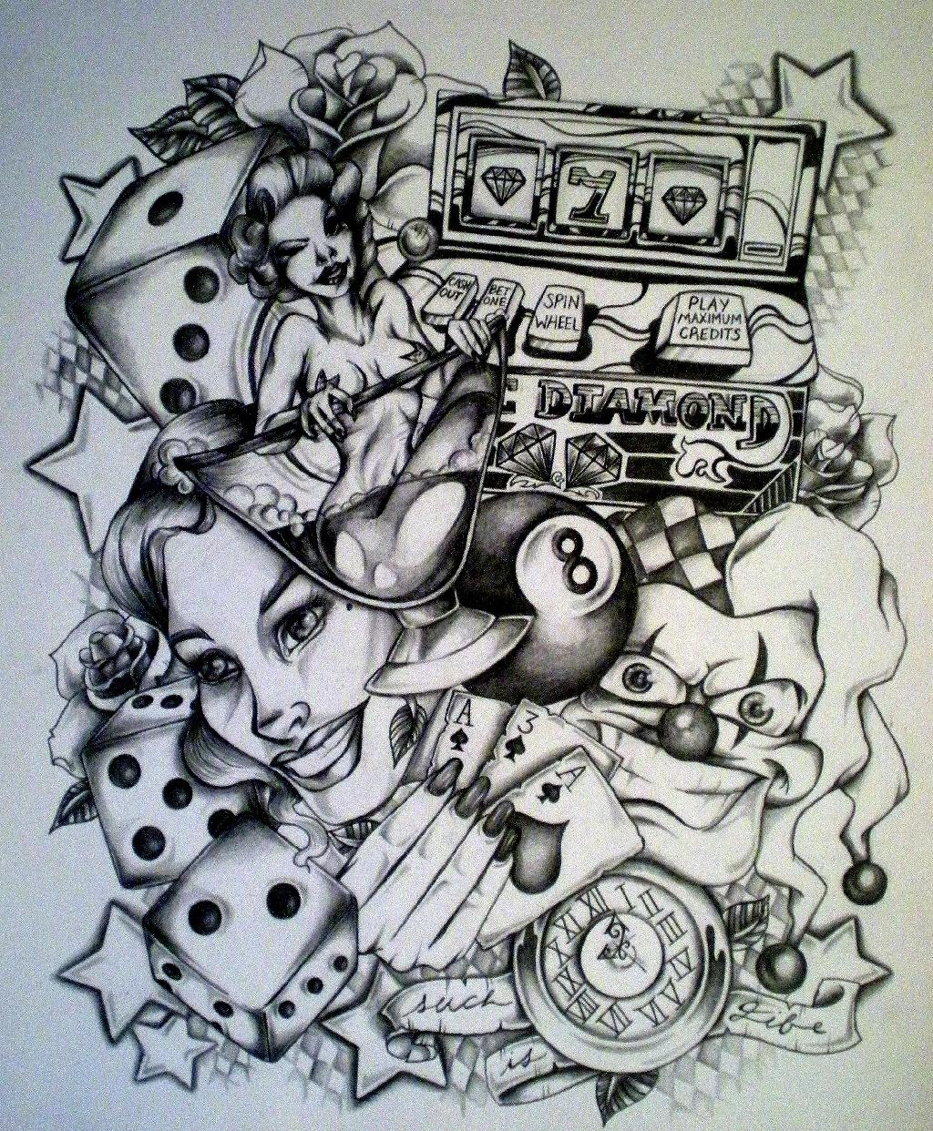 Custom Gambling Tattoo Design