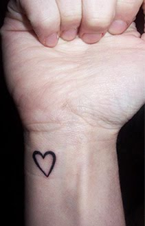 Cute Black Heart Tattoo Design On Wrist