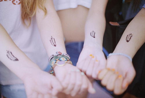 Cute Feather Tattoo For Best Friends
