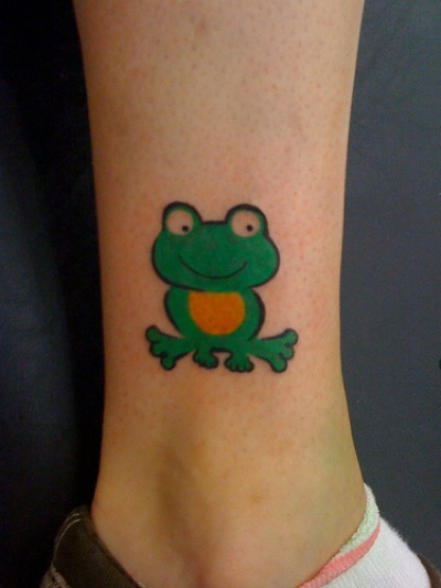 Cute Frog Tattoo On Ankle