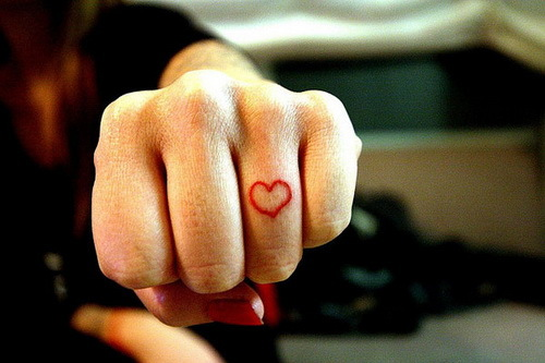 Cute Heart Tattoo On Middle Finger