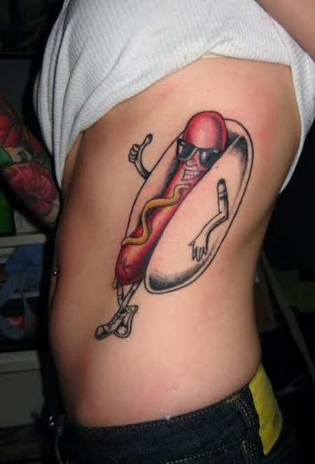 Dancing Hot Dog Funny Tattoo On Ribs