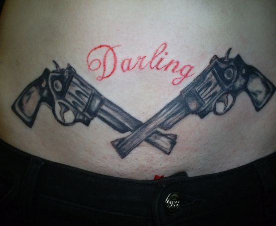 Darling Gun Tattoo On Stomach