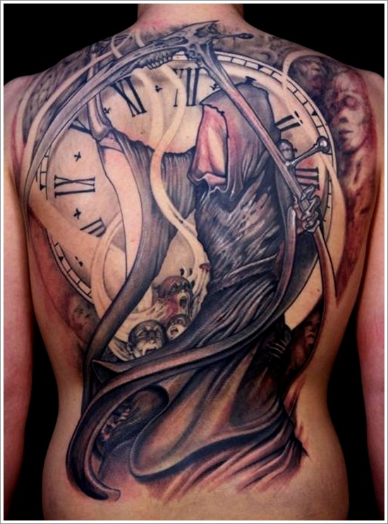 Death Grim Reaper n Clock Tattoo On Back Body