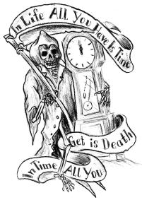 Death Grim Reaper With Clock Tattoo Design