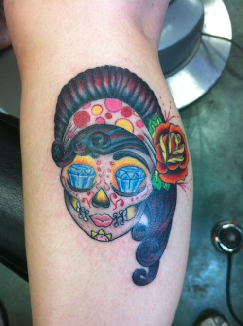Diamond Eyed Gypsy Skull Tattoo Design