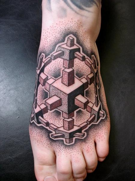 Dotwork Foot Tattoo Design