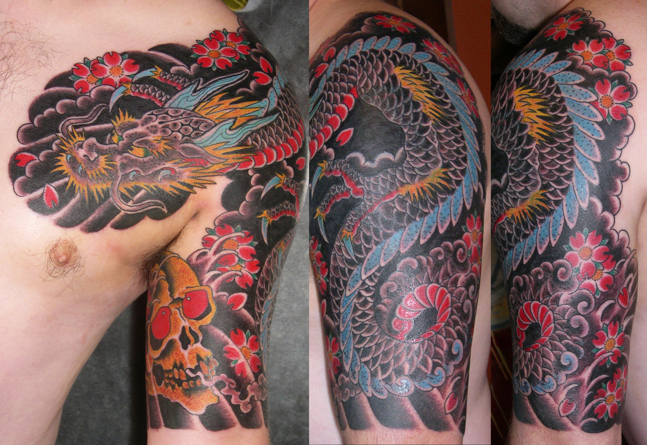 Dragon Half Sleeve Tattoo Design