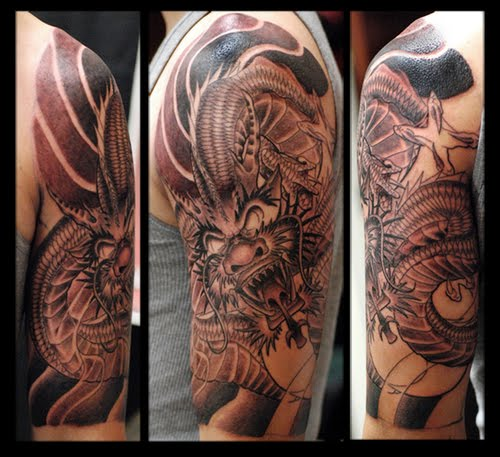 Dragon Half Sleeve Tattoo For Men